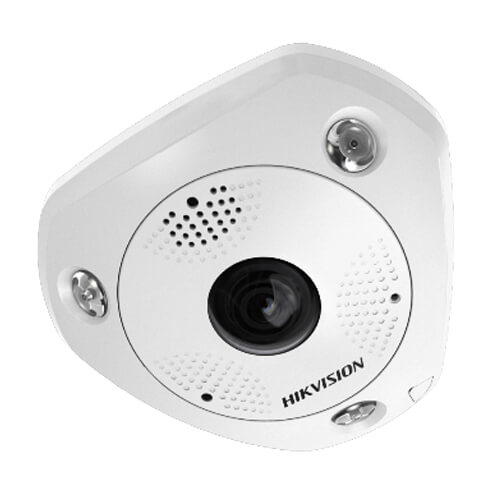 Cámara Panorámica IP Hikvision DS-2CD6365G0E-IS 6MP IR15m 1.27mm (fisheye) ePTZ H265 POE SD Audio Alarmas