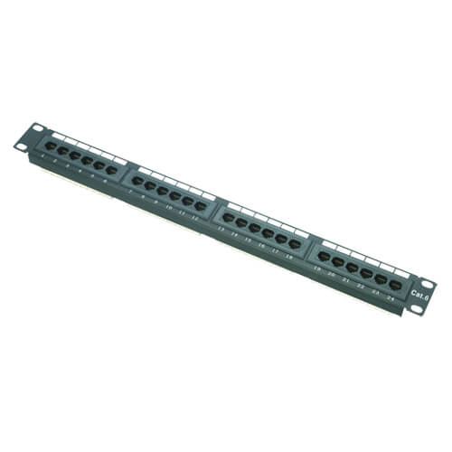 Patch panel de 24 puertos UTP/RJ45 PP-24 CAT6 enrackable (1U)