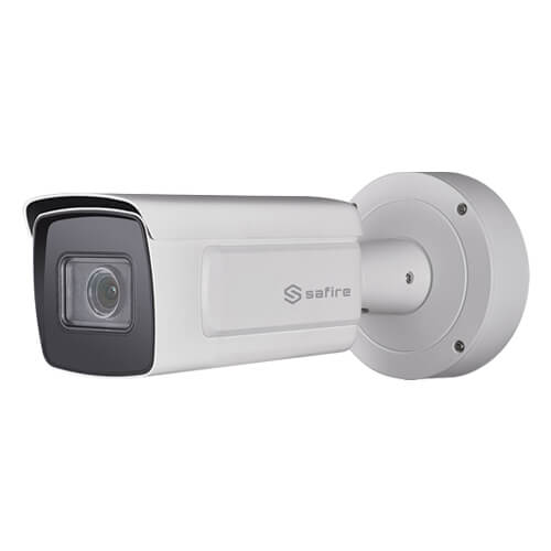 Cámara LPR IP Safire SF-IPB778Z-2YLPR 2MP IR50m 2.8-12mm motorizada H265+ POE SD WDR LPR Audio Alarmas