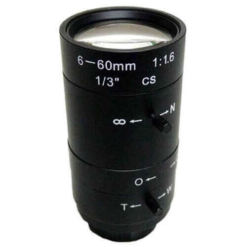 Óptica varifocal manual iris para cámara 6 - 60mm SSV06060